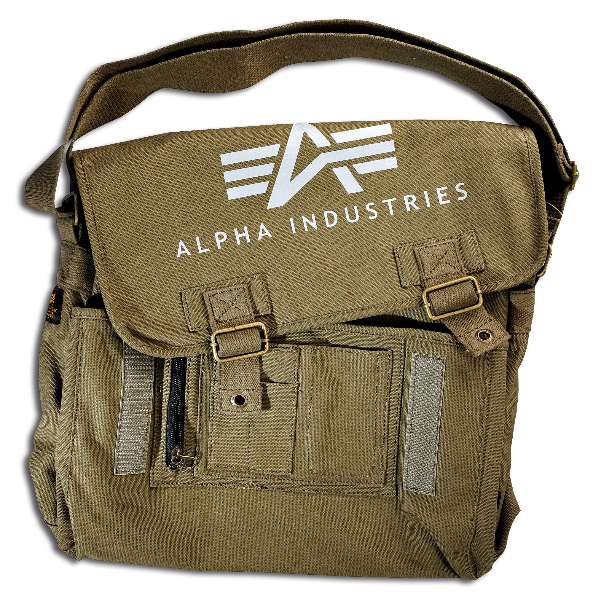 Bolsa bandolera Alpha Industries Big A Canvas Courier verde oliv