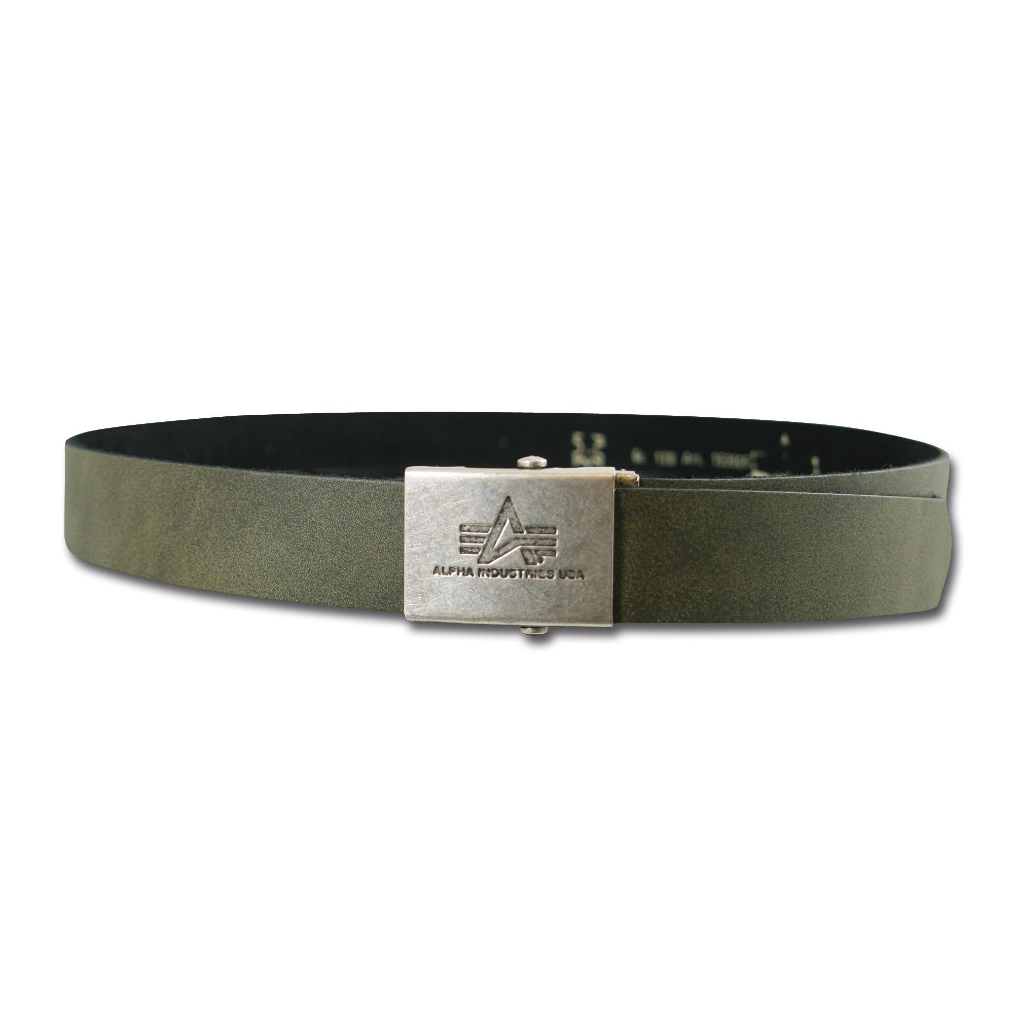 Cinturón de cuero Alpha Industries verde oliva