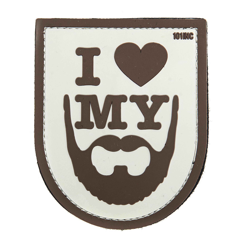 Parche 3D I love my Beard marrón