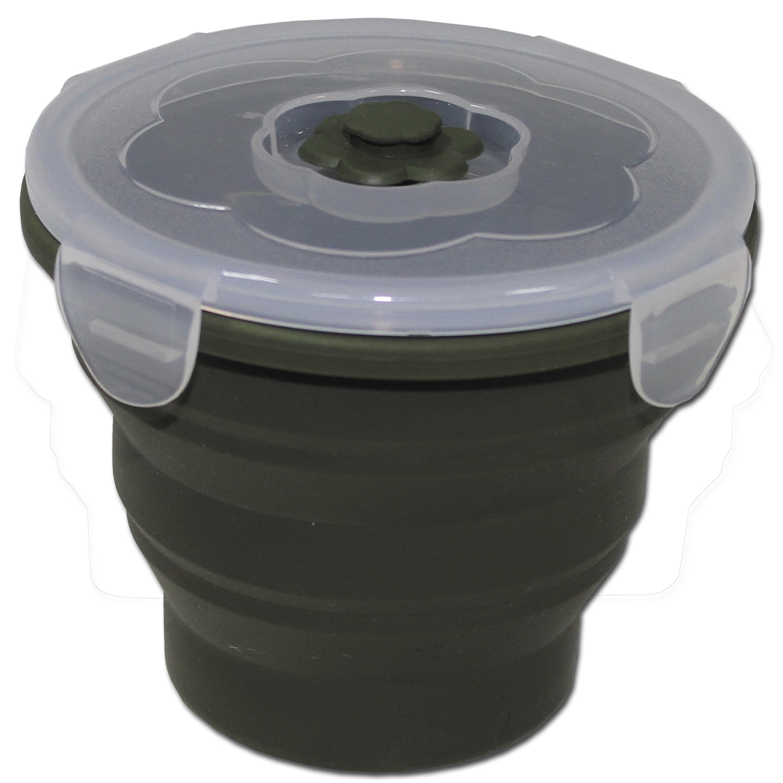 Recipiente para alimentos MFH plegable 660 ml redondo verde oliv