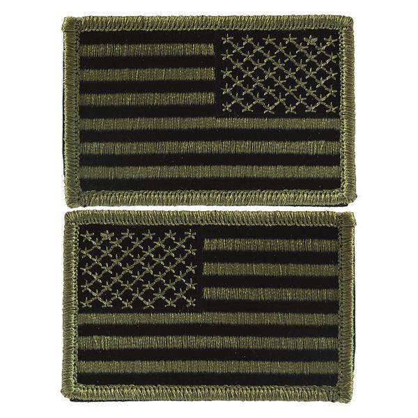 Insignia bandera US con velcro verde oliva