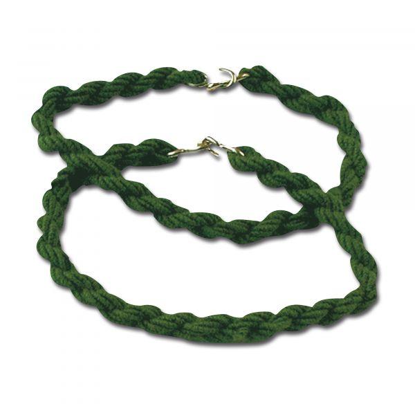 Goma elástica negra para pantalón con gancho verde oliva