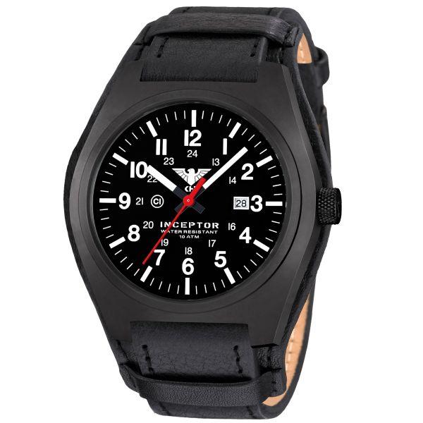 Reloj KHS Inceptor Black Steel correa de cuero G-Pad