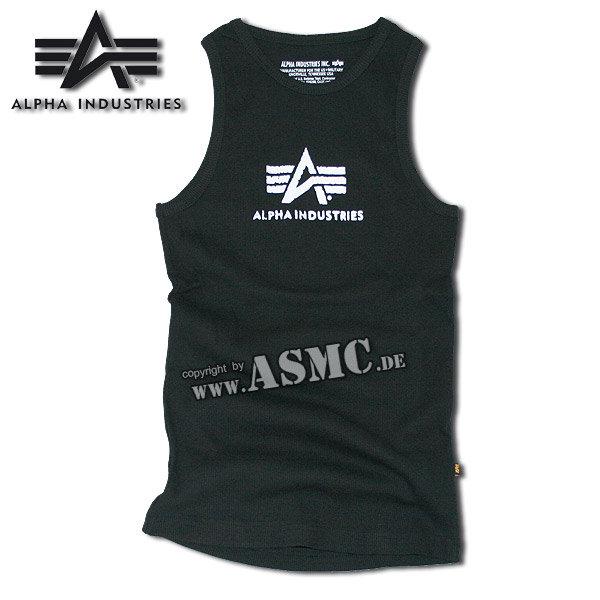 Camiseta sin mangas Alpha Logo negra/blanca