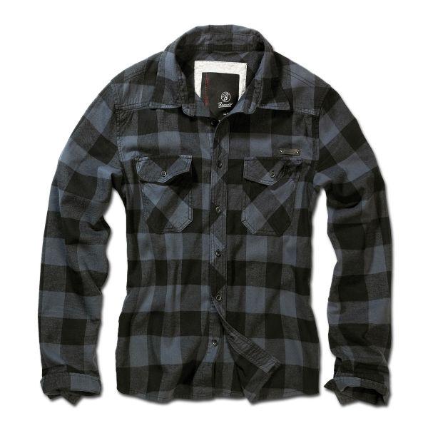 Brandit Camisa a cuadros negra gris