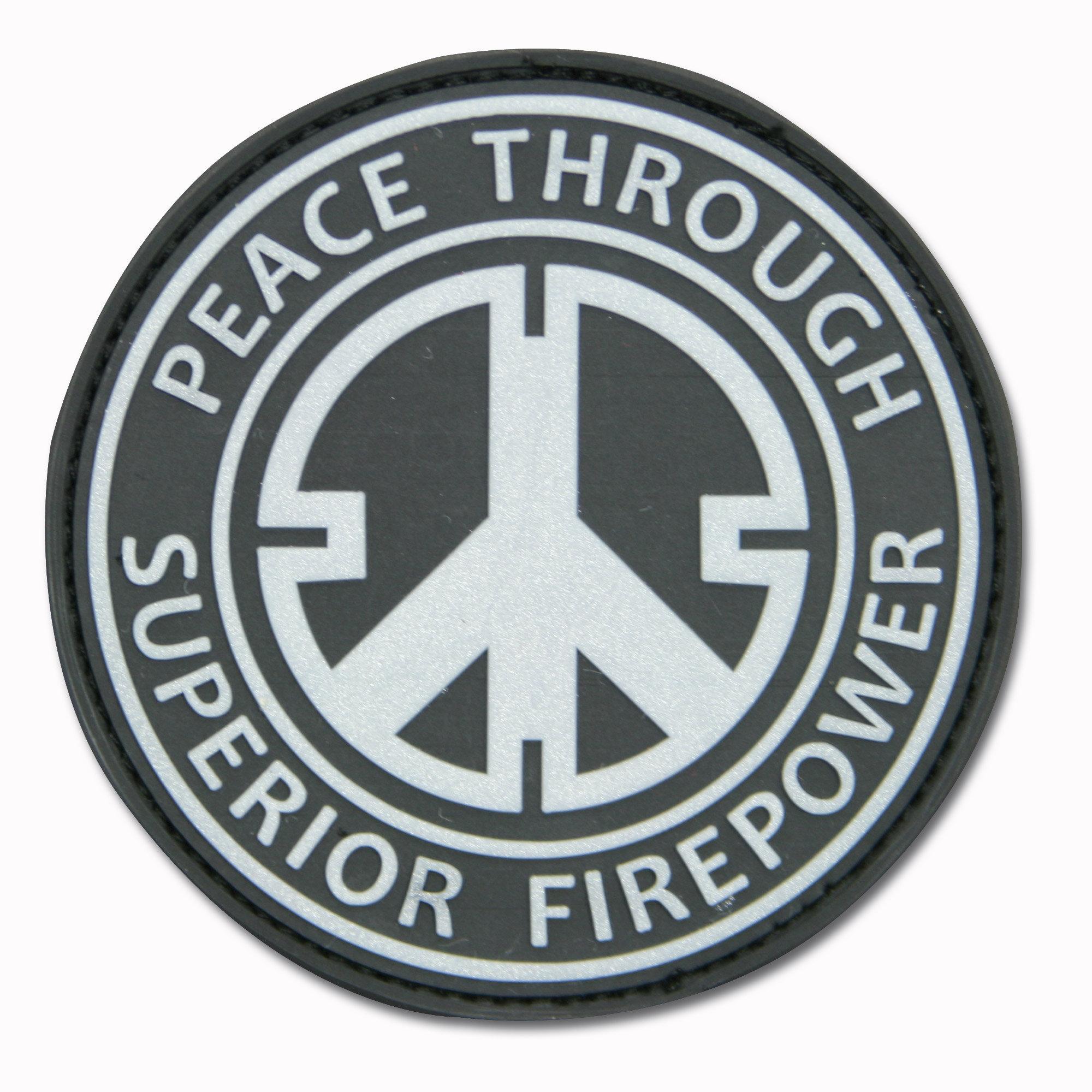 Parche 3D Peace Through Superior Firepower negro