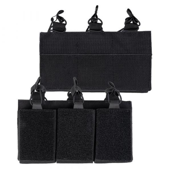 Mil-Tec Portacargador triple con velcro posterior negro