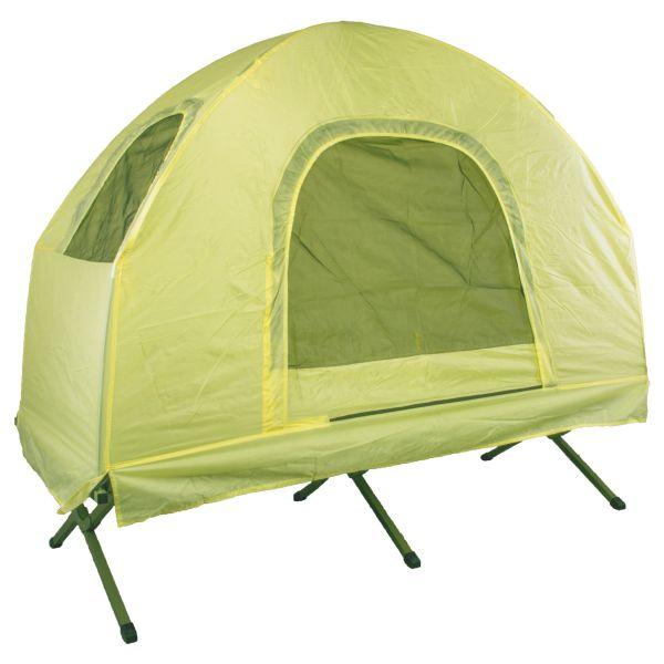 Cama de campaña con techo cobertor amarillo