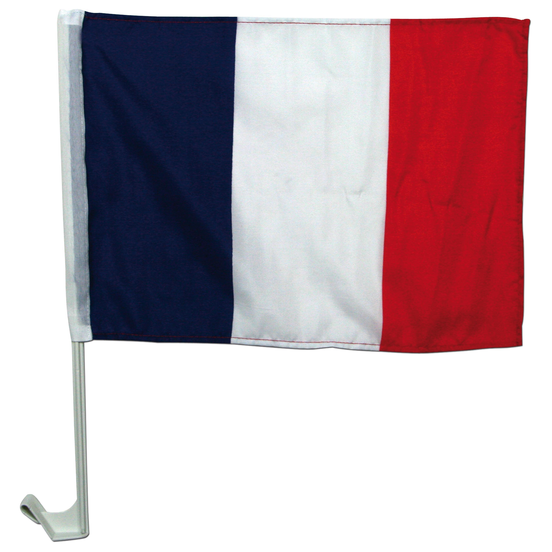 Set para aficionados Francia bandera + soporte para coche