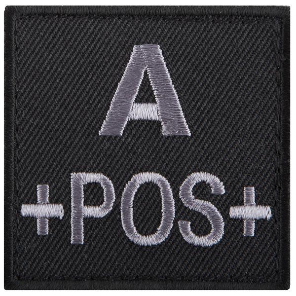 T.O.E Parche grupo sanguíneo A positivo negro