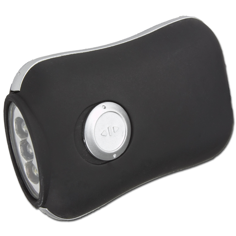 Linterna de manivela Dynamo, negra, 3 LED
