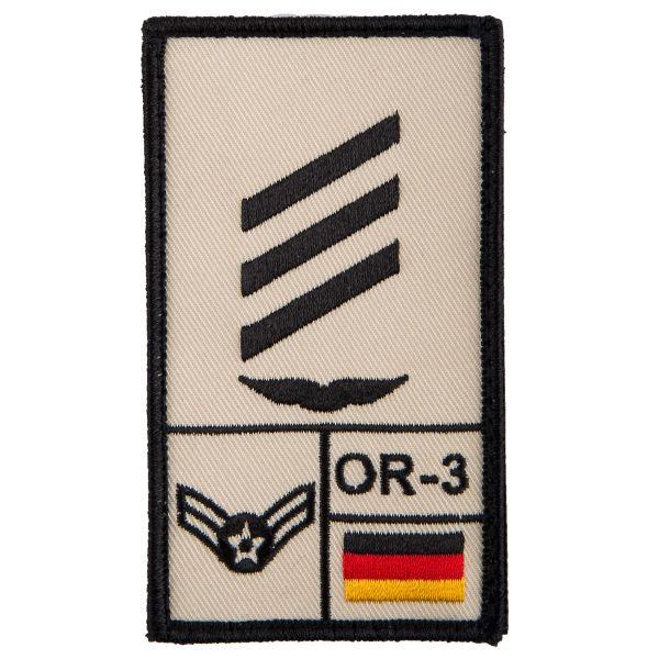 Parche de rango Café Viereck Hauptgefreiter Luftwaffe sand