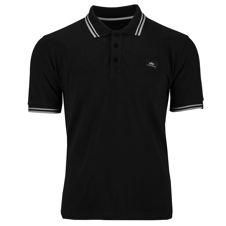Camiseta Alpha Industries Twin Stripe Polo II negro/blanco
