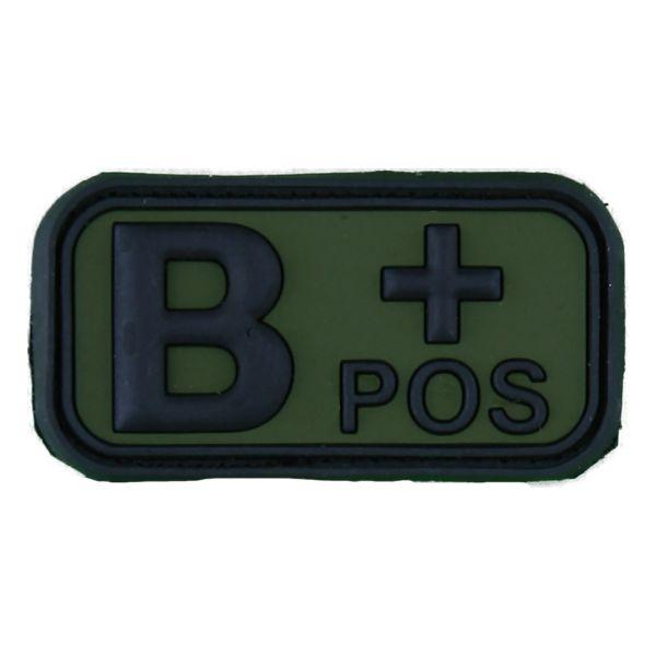 Parche - 3D grupo sanguíneo B Pos negro - verde oliva