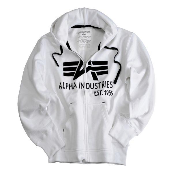 Sudadera Alpha Industries Big A Classic Zip Hoody blanco