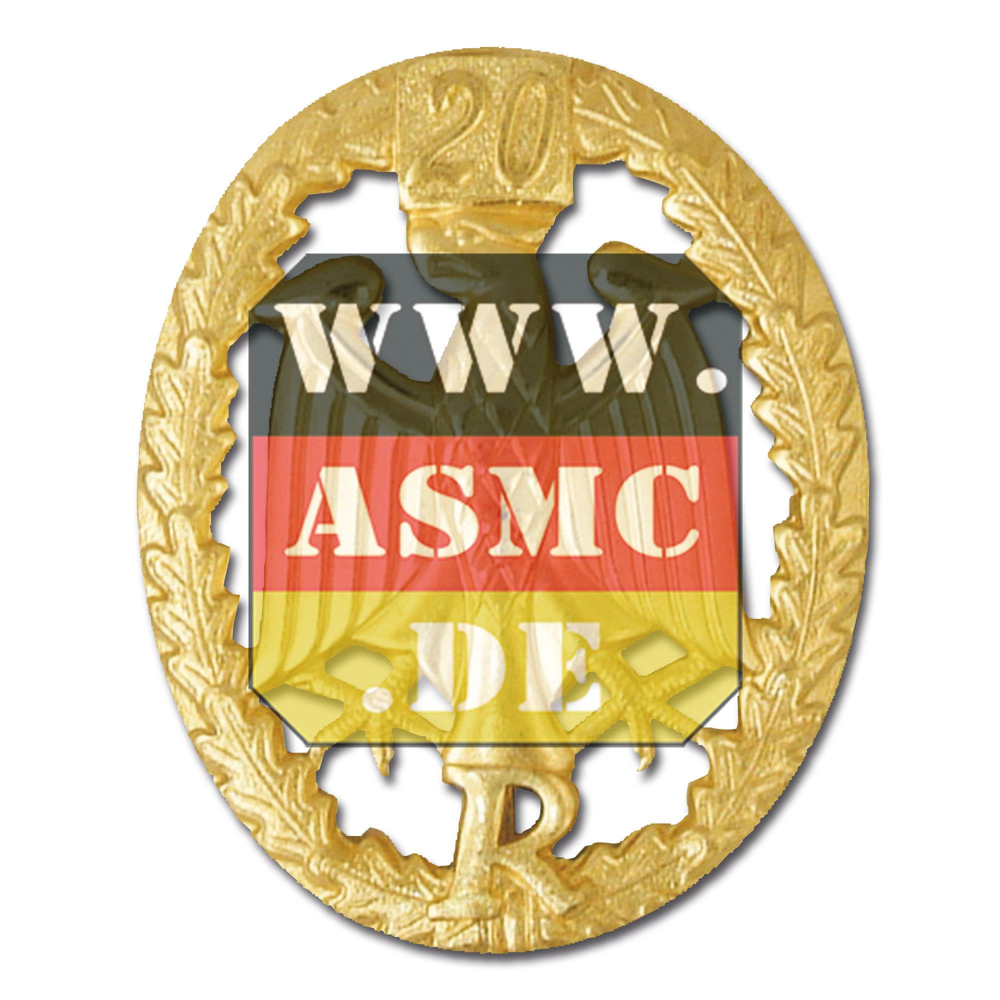 Insignia metálica de servicio Reservisten dorado cifra 20