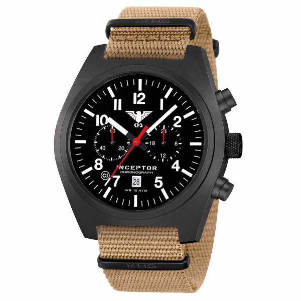 Reloj KHS Inceptor Black Steel Chronograph correa OTAN tan