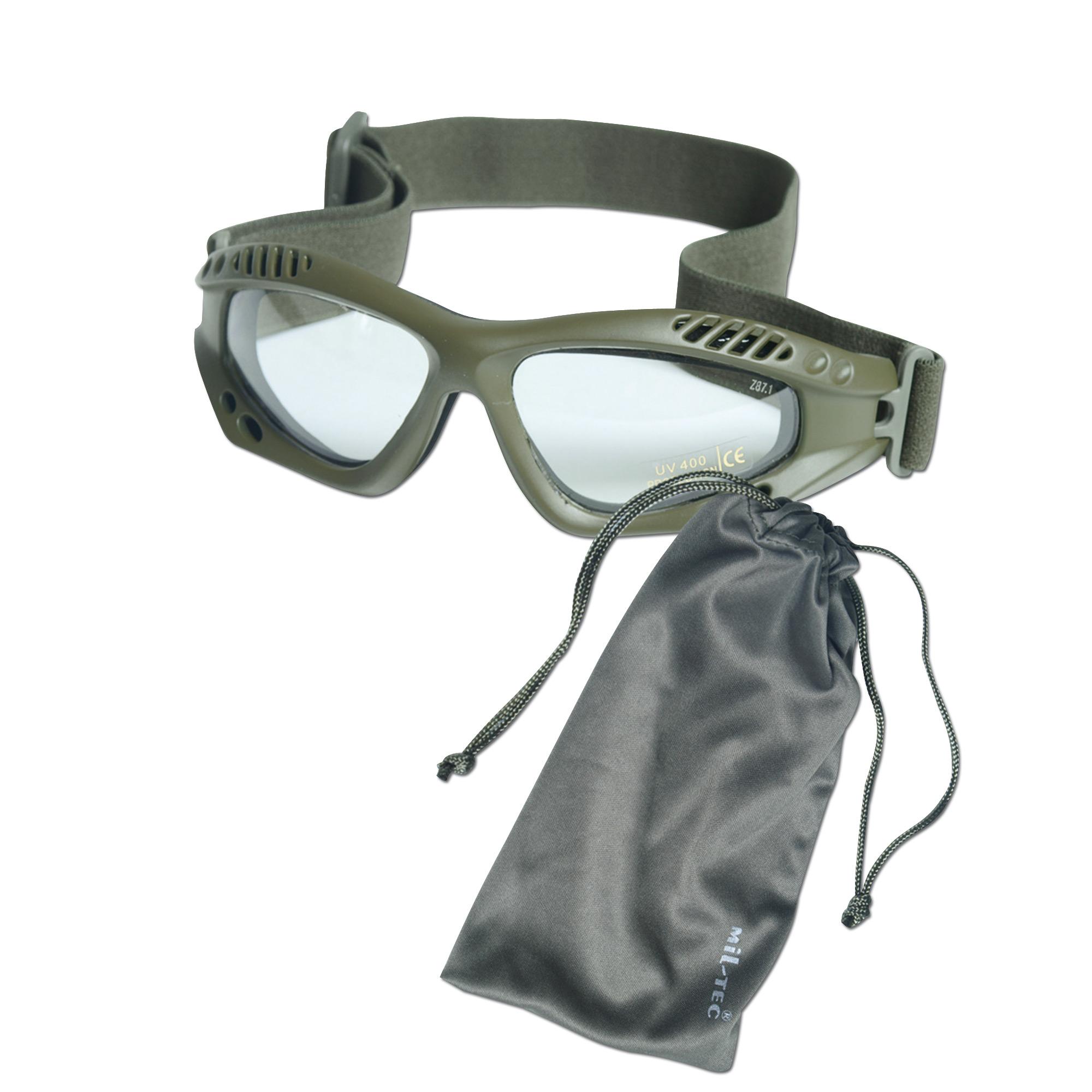 Gafas Commando Air-Pro verde oliva transparentes