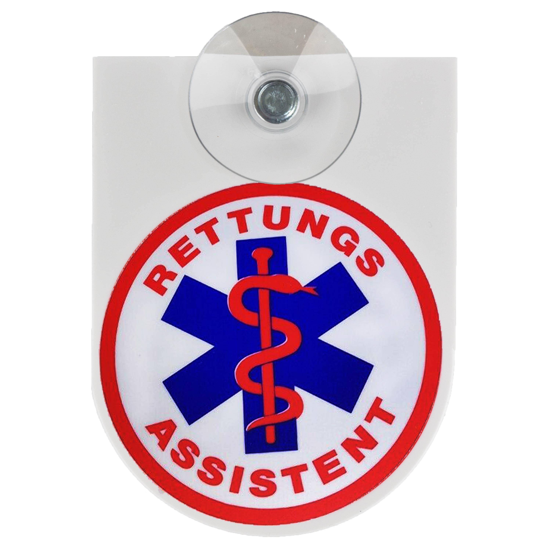 Cartel con botón de succión Rettungsassistent