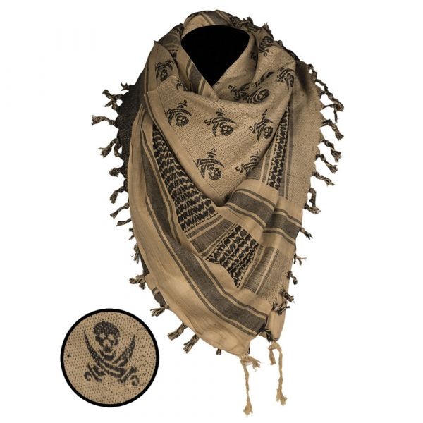 Shemagh Mil-Tec Skull 110x110 cm coyote negro