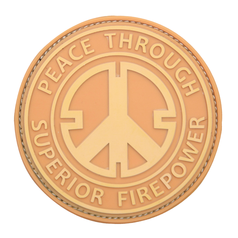Parche 3D Peace Through Superior Firepower coyote