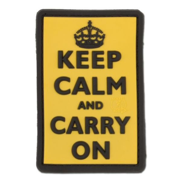 Parche 3D Keep Calm and Carry on amarillo