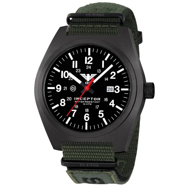 Reloj KHS Inceptor Black Steel XTAC correa OTAN verde oliva