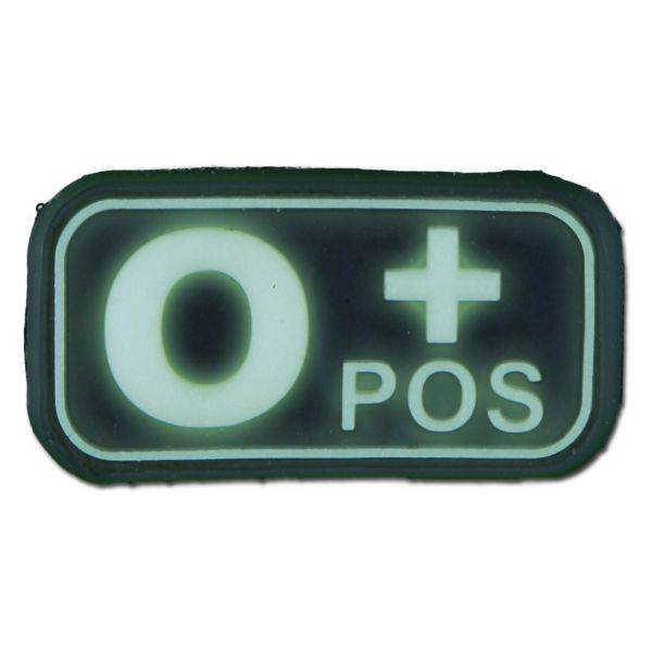Parche 3D grupo sanguíneo 0 Pos fosforescente