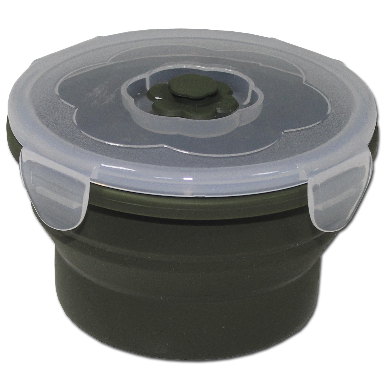 Recipiente para alimentos MFH plegable 540 ml redondo verde oli