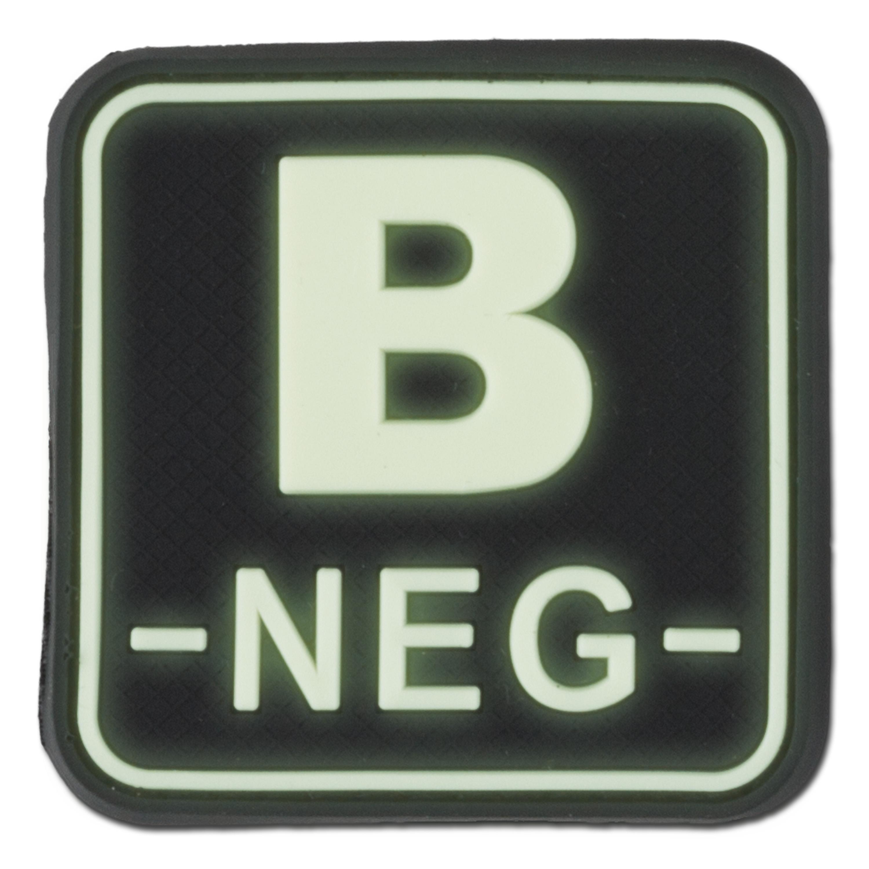 Parche grupo sanguíneo 3D - B NEG fosforescente cuadrado
