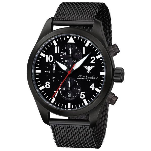 Reloj KHS Airleader Black Steel Chronograph correa de malla